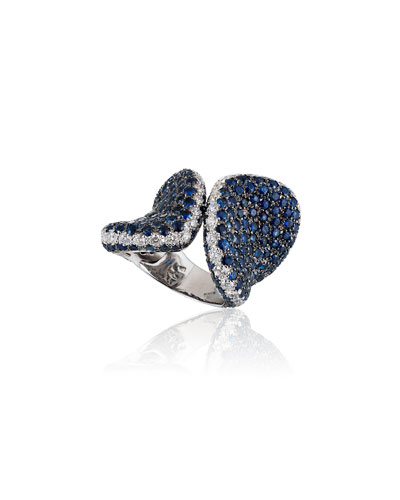 18k White Gold Blue Sapphire & Diamond Ring  Size 7