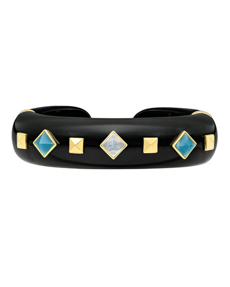 Weekend Black Jade Cuff Bracelet with Mixed Studs