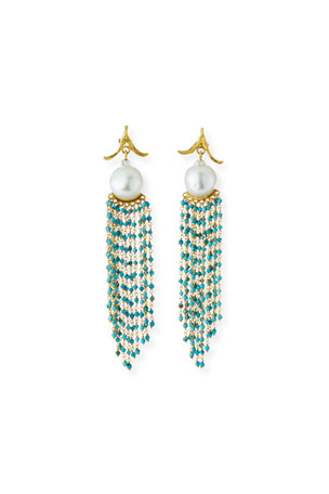 K Brunini 18k Pearl & Turquoise Cascade Earrings