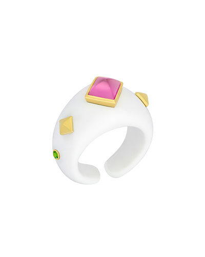 18k White Agate Ring w/ Rubelite & Tsavorite Garnet  Size 6