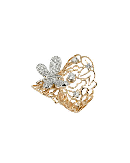 Staurino Fratelli 18k Rose Gold Magic Snake Spiral Flex Ring with Diamond Dragonfly qd9YRSG1d6