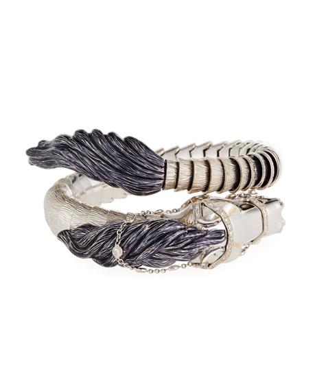 18k Diamond Horse Bangle Bracelet, White Gold