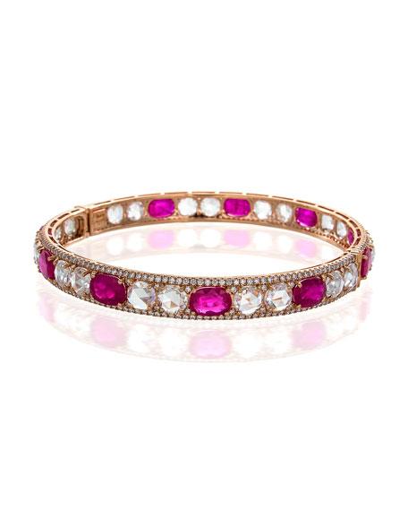 Rose-Cut Ruby & Diamond Bangle
