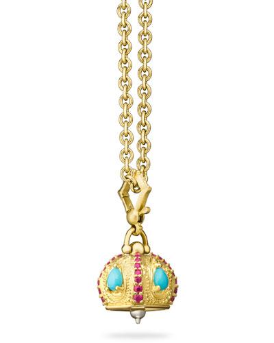Raja Turquoise & Ruby Meditation Bell Pendant