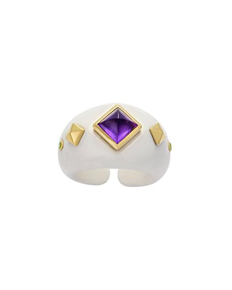 Margot McKinney Jewelry 18k White Agate, Amethyst & Garnet Ring, Size 6