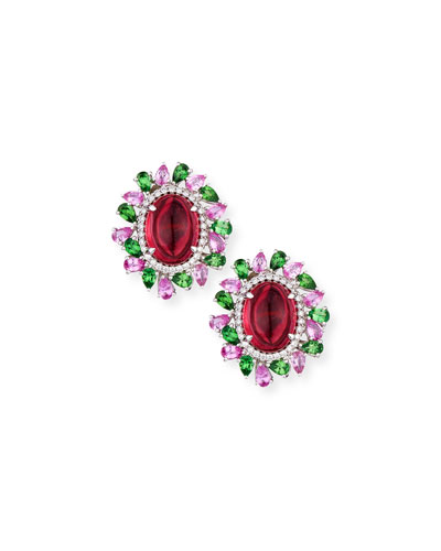 Rubellite Cabochon Earrings with Diamonds  Pink Sapphire & Tourmaline