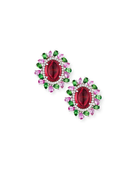 Rubellite Cabochon Earrings with Diamonds, Pink Sapphire & Tourmaline