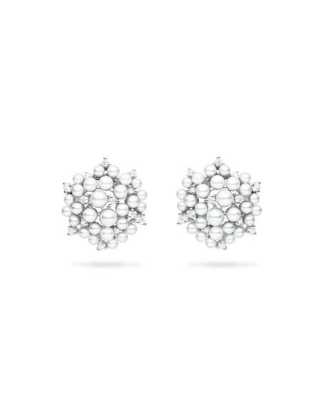 Lagrange Pearl & Diamond Cluster Earrings