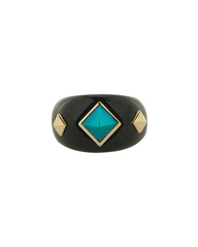 Weekend 18k Black Jade Ring w/ Turquoise & Tsavorite Garnet