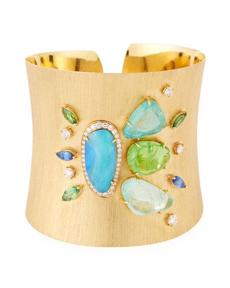18k Virescent Wide Cuff Bracelet