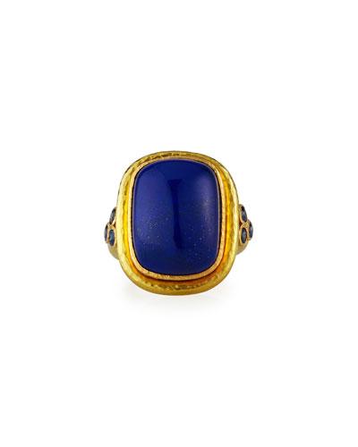 19k Lapis Cushion Blue Sapphire Trio Ring, Size 6.5