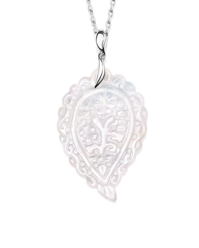 India Leaf Pendant Necklace in 18K White Gold