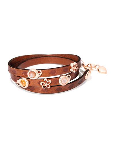 Loopy Camel Cabochon Leather Wrap Bracelet