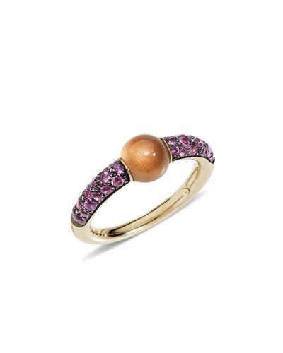 18k M'ama Non M'ama Ring w/ Garnet & Pink Sapphires  Size 51