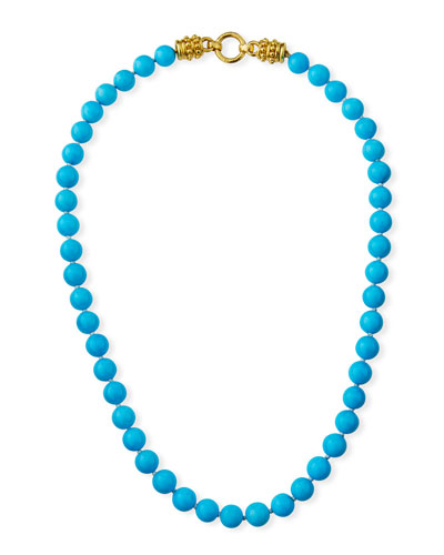 19k Yellow Gold 9mm Turquoise Necklace