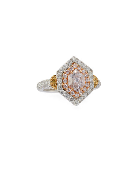 Alexander Laut Light Green Diamond Ring with Pink & White Diamonds