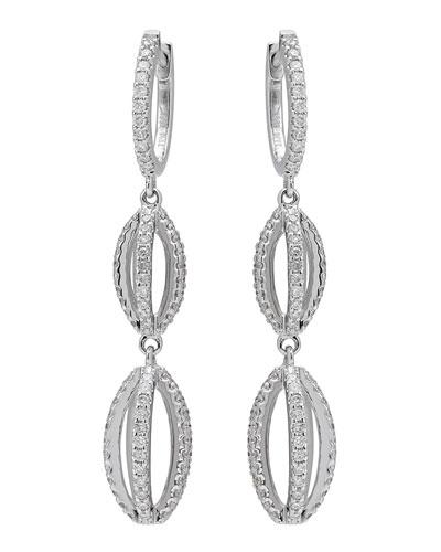 18k White Gold Diamond Double-Drop Earrings