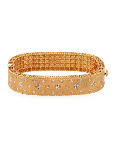 18K Rose Gold Princess Diamond Bangle