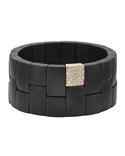 Matte Ceramic 2-Row Stretch Bracelet w/ Diamonds