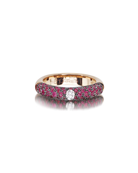 18k Rose Gold Pop Stackable Ring w/ Rubies & Diamonds