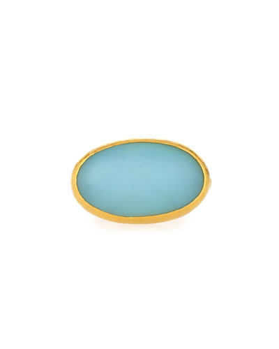 Laguna Aqua Chalcedony Ring in 24K Gold