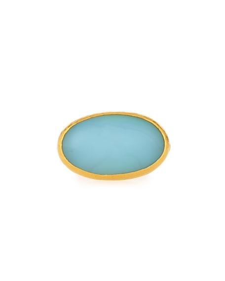 Gurhan Laguna Aqua Chalcedony Ring in 24K Gold