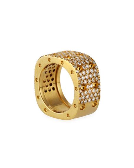 Roberto Coin Pois Moi 18k Diamond Pave 2-Row Ring, Size 7