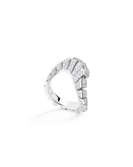 Miseno Ventaglio 18k White Gold Diamond Fan Ring, Size 6.5