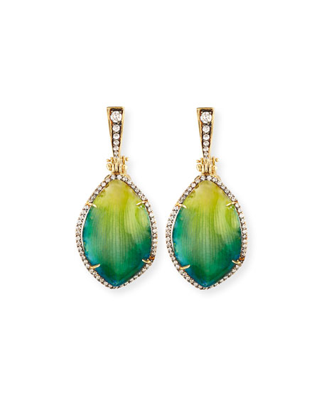 18K Diamond & Resin-Coated Orchid Petal Drop Earrings, Green