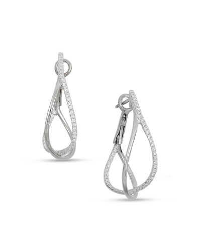 18K White Gold Diamond Crossover Hoop Earrings