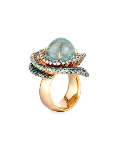 18k Round Aquamarine Ring, Size 6.5