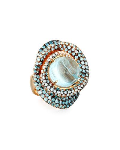 18k Round Aquamarine Ring