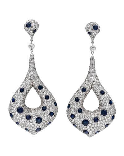 18k White Gold Diamond & Blue Sapphire Marquise Drop Earrings