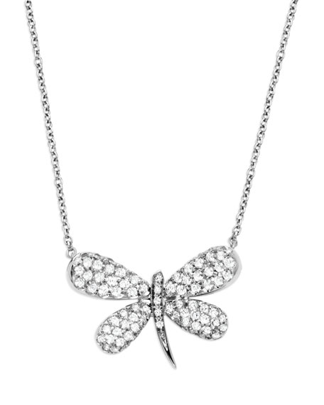 Staurino fratelli 18k white gold nature dragonfly pendant necklace 18k white gold nature dragonfly pendant necklace mozeypictures Images