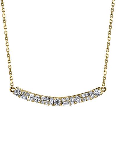 18K Gold Mixed Diamond Bar Pendant Necklace