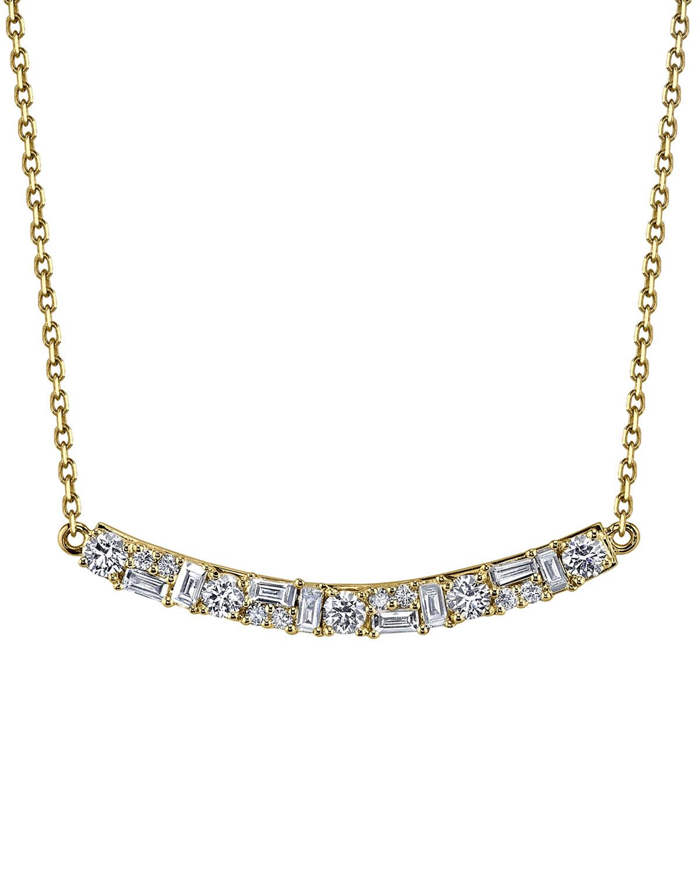 8cd10b3ab2aee Borgioni 18K Gold Mixed Diamond Bar Pendant Necklace