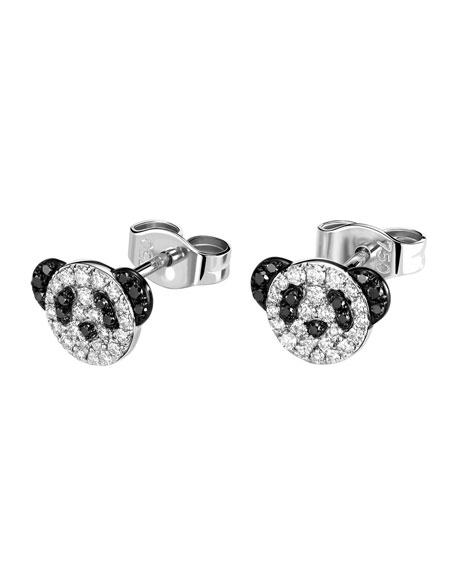Petite Bobo Panda Earrings with Diamonds