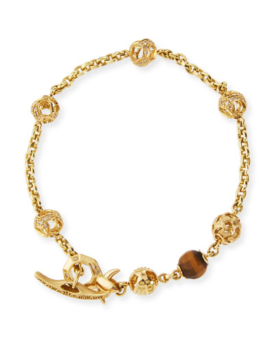 Fu 18K Yellow Gold Faceted Tiger Eye Bracelet with Diamonds