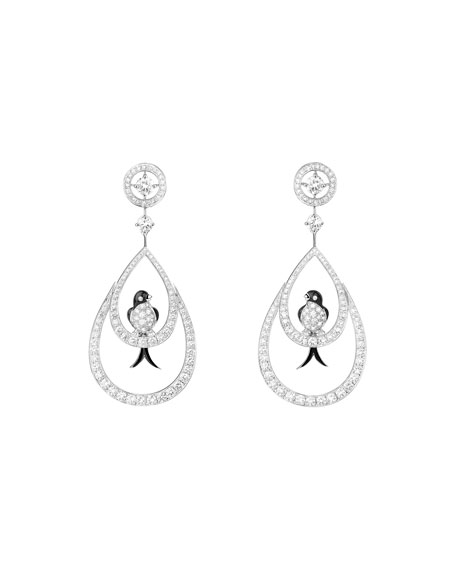 Boucheron 18k Diamond Swallows Pendant Earrings