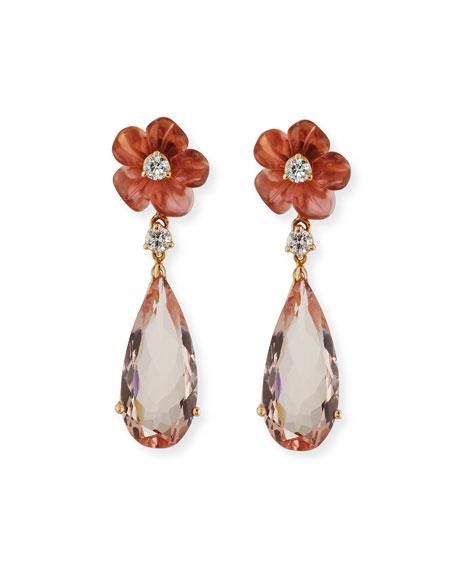 Pink Tourmaline Flower & Morganite Drop Earrings with Diamonds