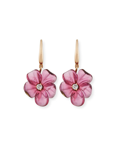 19mm Pink Tourmaline Flower Earrings with Diamonds