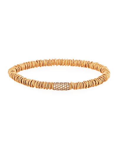 Medium Joy 18K Rose Gold Tube Bracelet with Champagne Diamonds