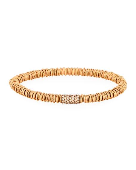 Medium Joy 18K Rose Gold Tube Bracelet with Champagne Diamonds