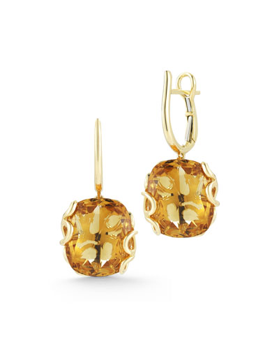 18k Gold Sea Leaf Citrine Drop Earrings
