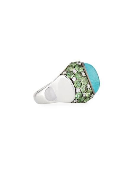 Paraiba Tourmaline Cabochon & Green Tsavorite Ring