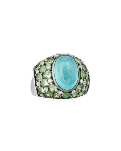 Paraiba Tourmaline Cabochon & Green Tsavorite Ring  Size 7