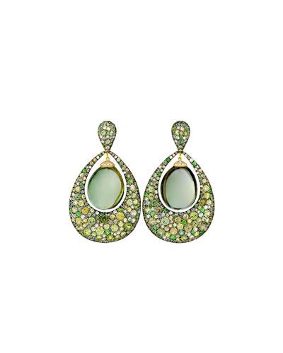 Greenbell Drop Earrings with Green Amethyst & Diamonds