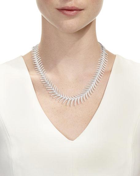 Leo Pizzo Diamond Fishtail Necklace in 18K White Gold