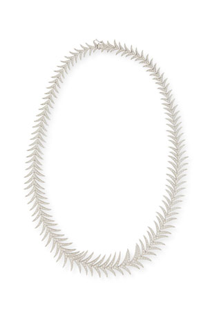 Leo Pizzo Diamond Fishtail Necklace in 18K White Gold