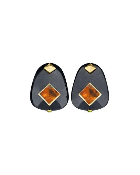 Margot McKinney Jewelry 18k Black Jade & Citrine Earrings